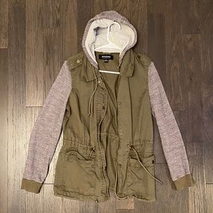 Olive Green Coat with Grey Sleeves and Hood